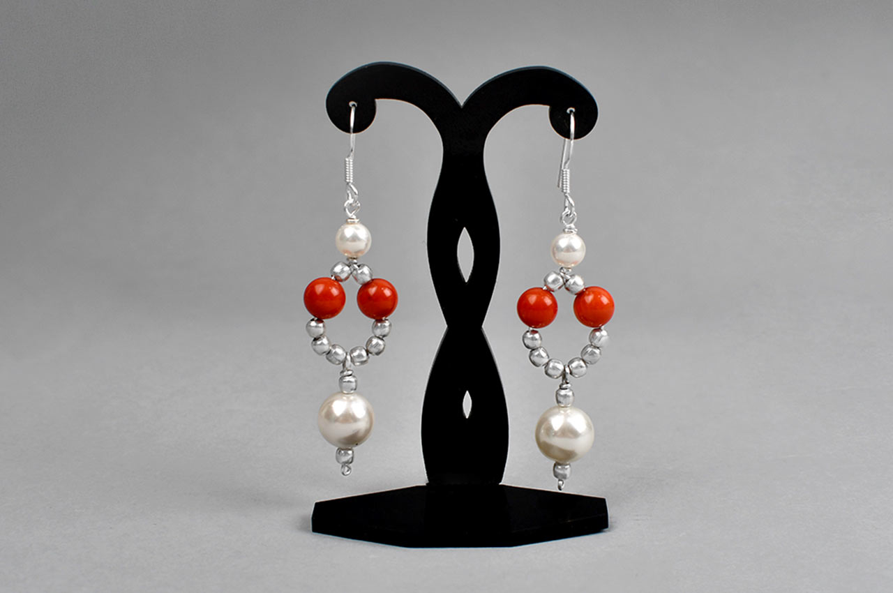 Pearl and Coral bead Earrings - IV