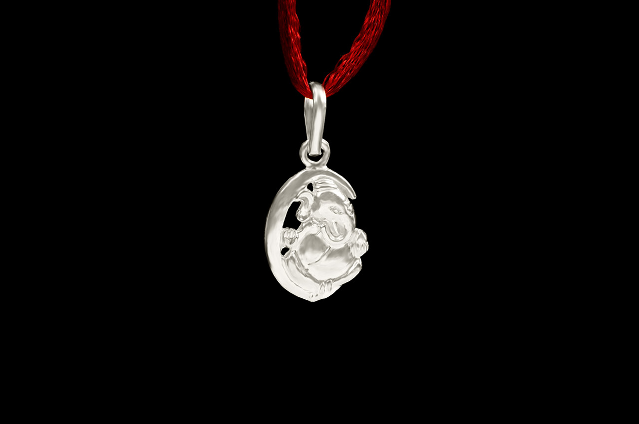 Ganesh Locket in Pure Silver - Design VI