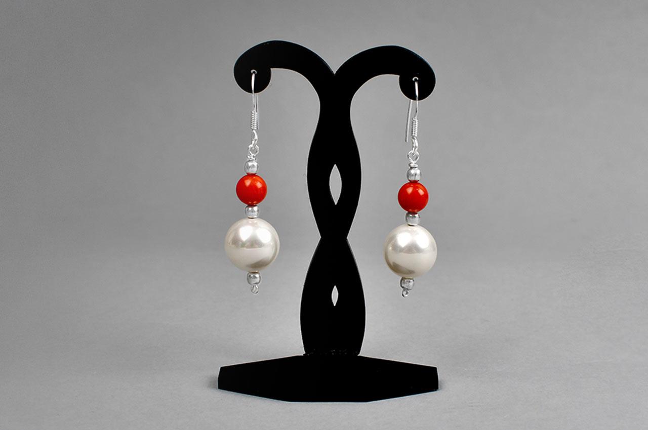 Pearl and Coral bead Earrings - III