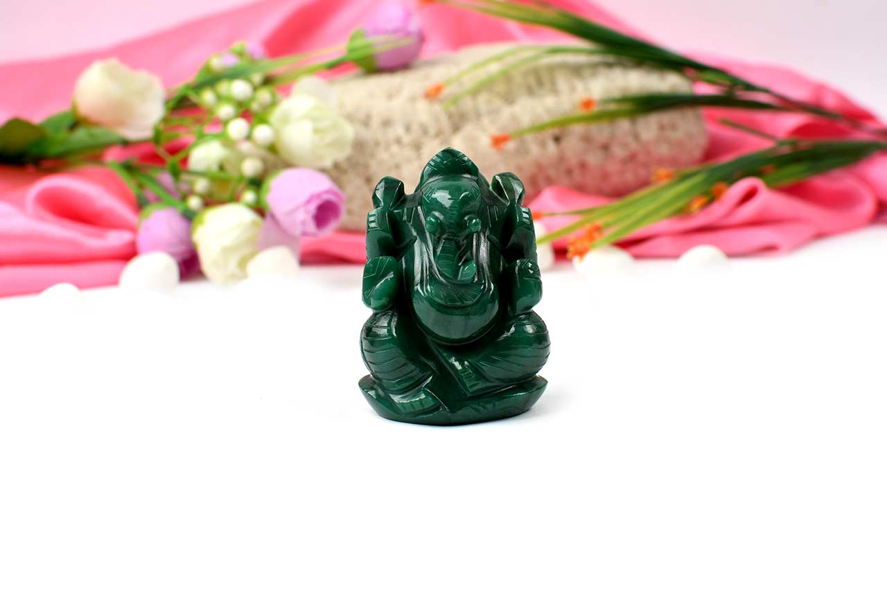 Ganesha in Columbian Green Jade - 115 gms
