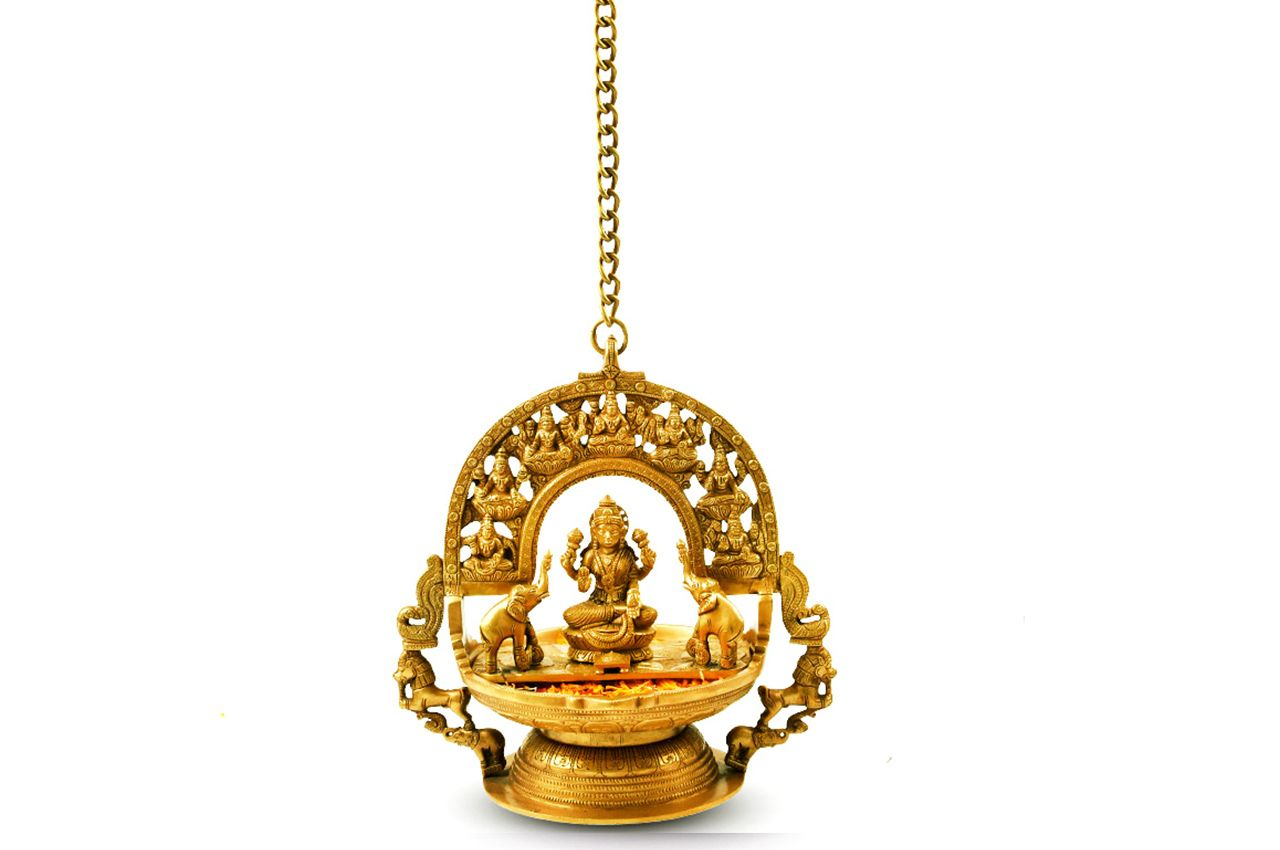 Hanging GajaLaxmi Idol with Shreeyantra in Brass