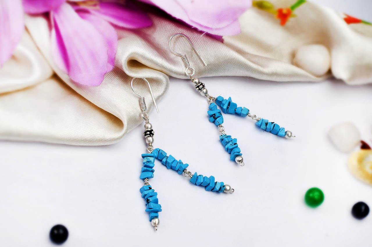 Turquoise uncut earring