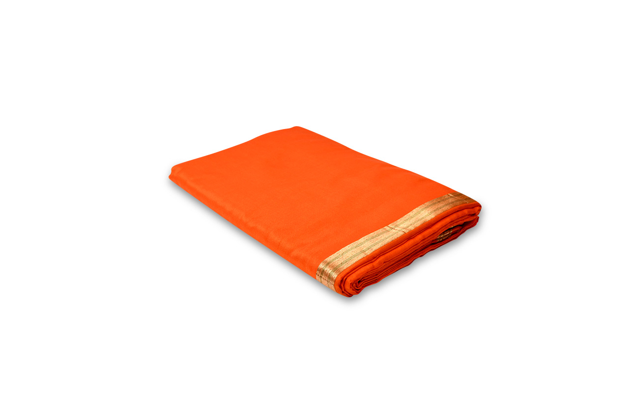 Orange Silk Dhoti with Shawl