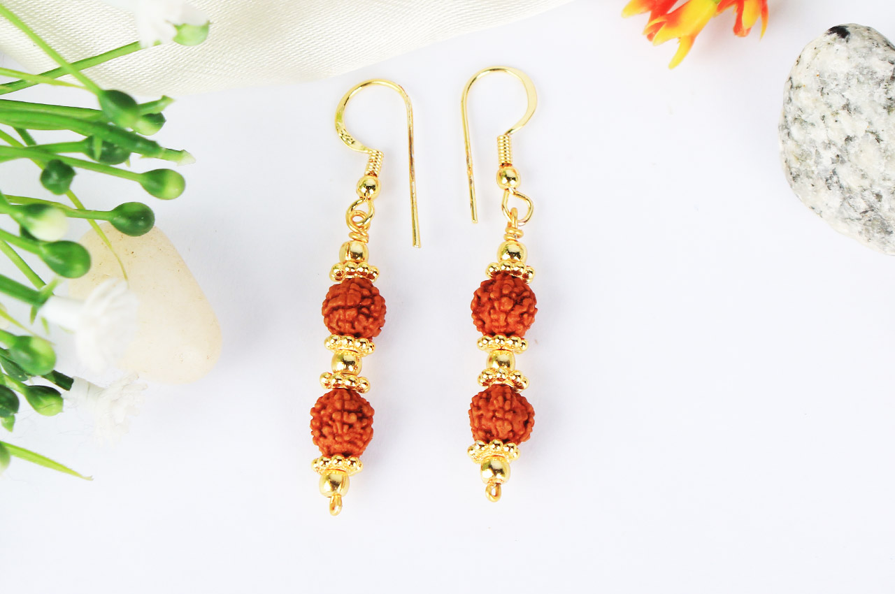 Rudraksha and Gold Earring Set with Gold Chakri and Balls - 7mm
