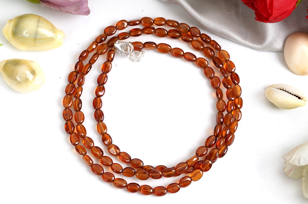 Hessonite Gomed oval mala