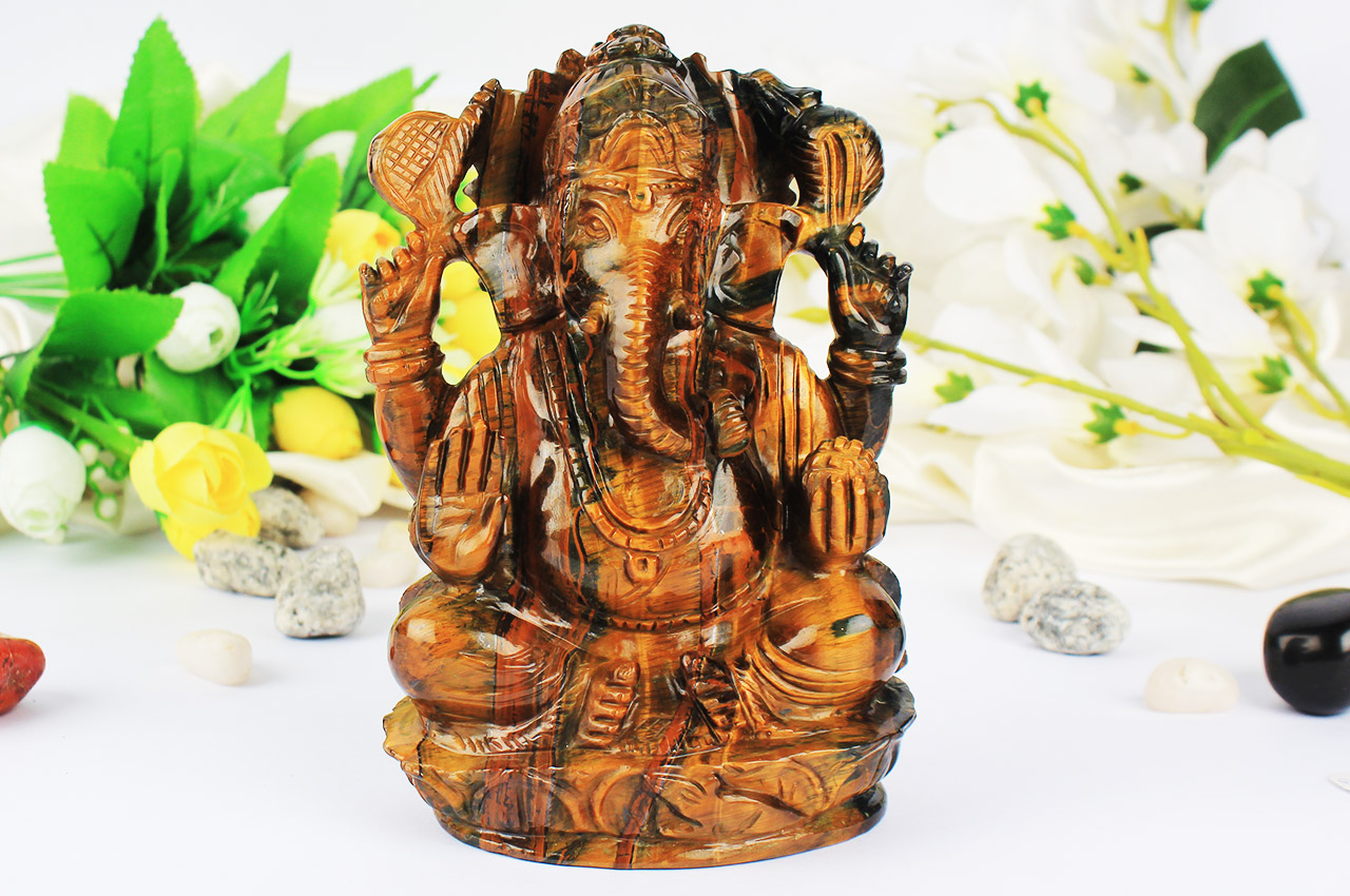 Tiger Eye Ganesha - 1127 gms