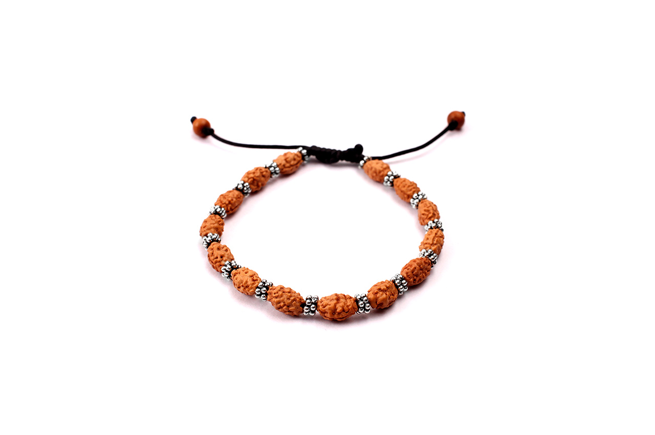 2 mukhi Moon bracelet from Java with silver chakri in thread