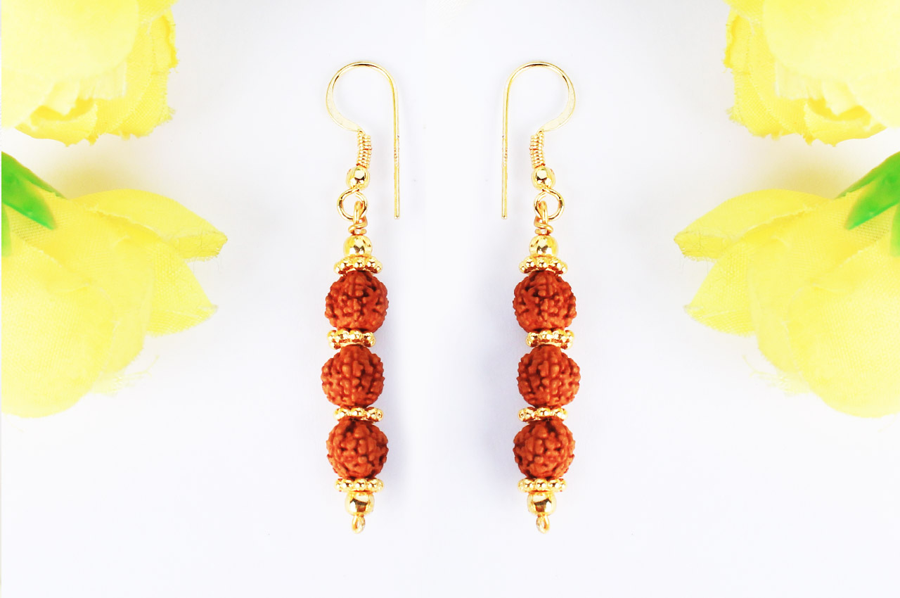 Rudraksha and Gold Earring Set with gold chakri - 7mm