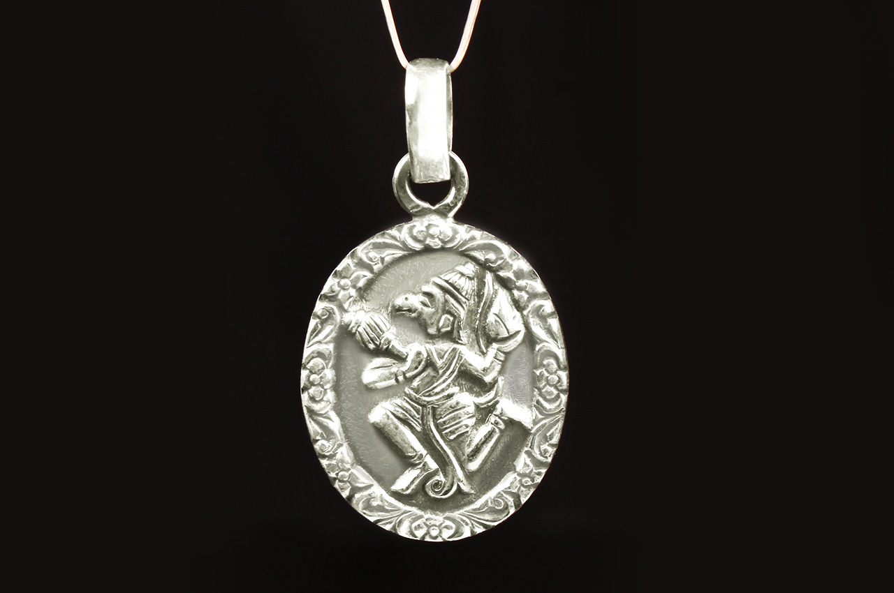 Hanuman locket in pure silver design iv rudraksha ratna hanuman locket in pure silver design iv aloadofball Image collections