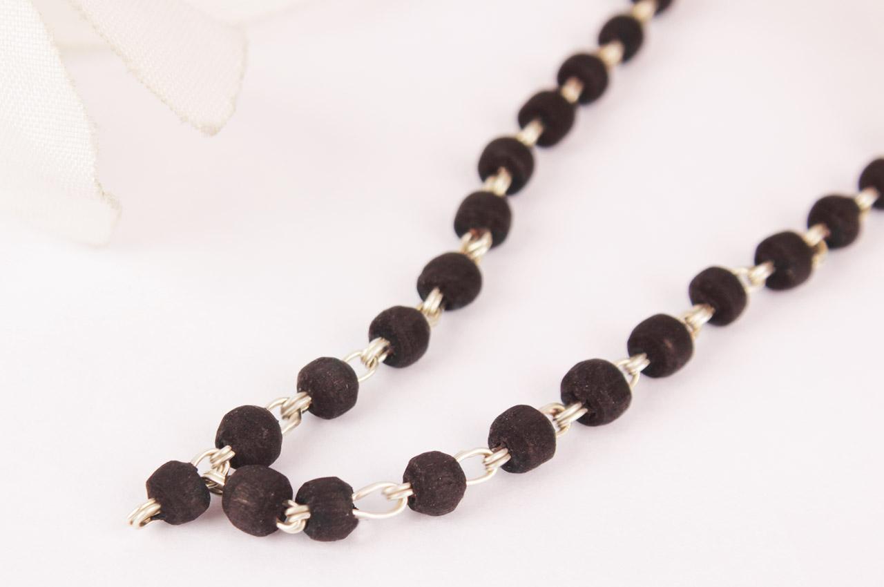 Black Tulsi Mala in silver