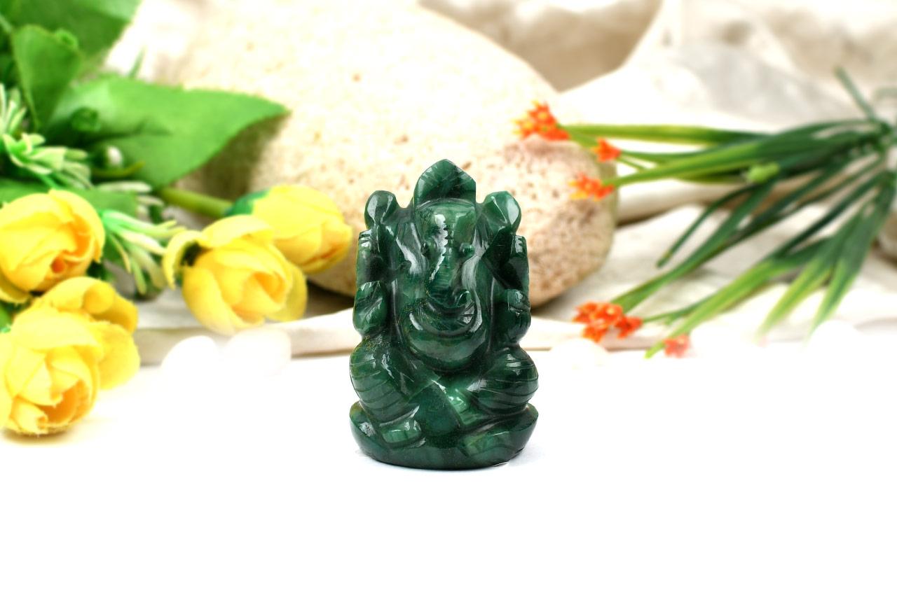 Green Jade  Ganesha - 109 gms