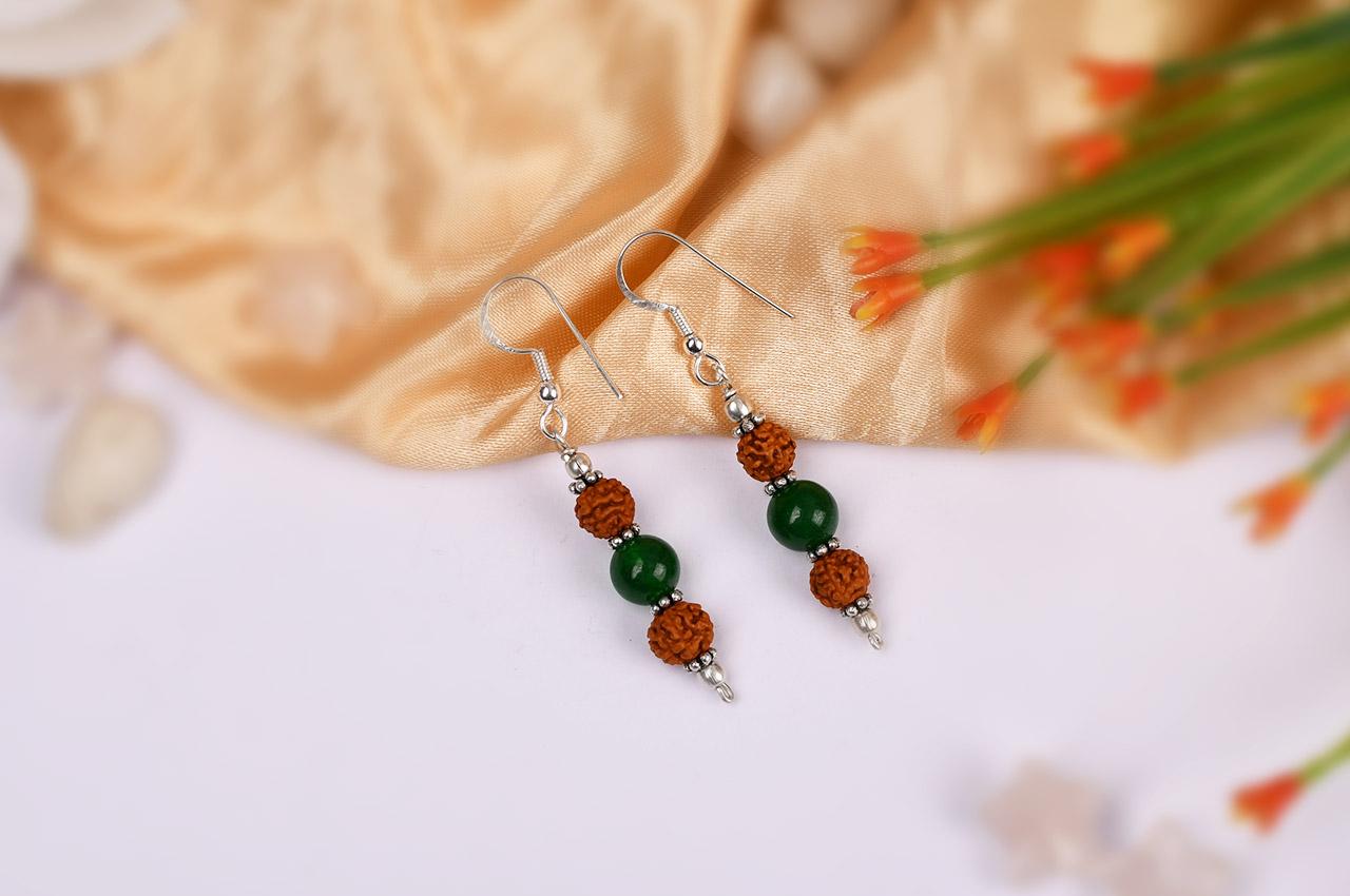 Rudraksha and Green Jade earring