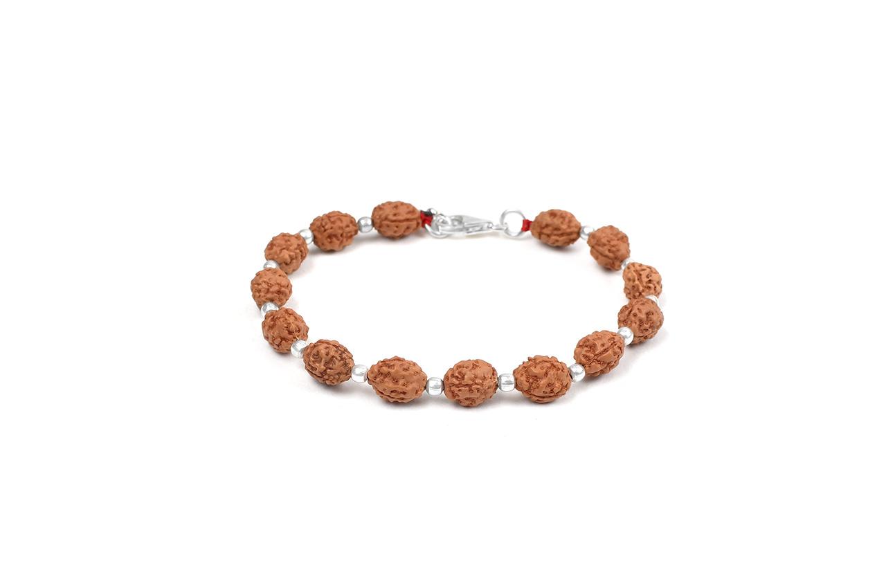 3 mukhi Mahajwala bracelet from Java with silver balls