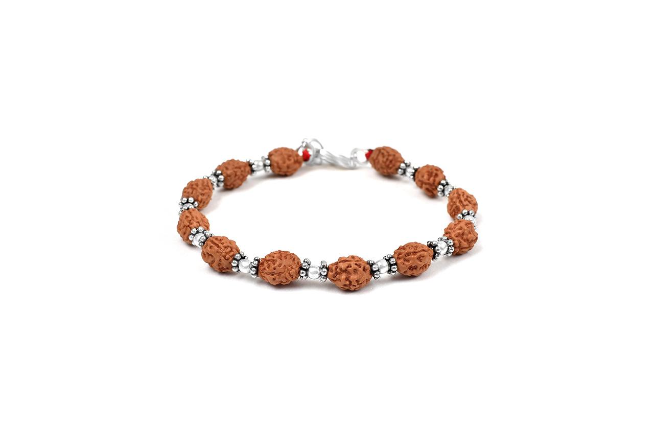 3 mukhi Mahajwala bracelet from Java with silver balls and chakri