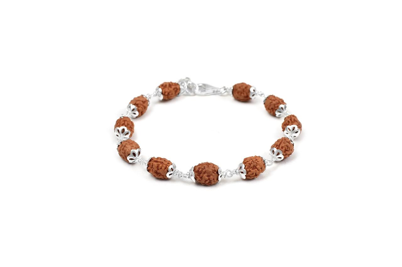 3 mukhi Mahajwala bracelet from Java with silver caps