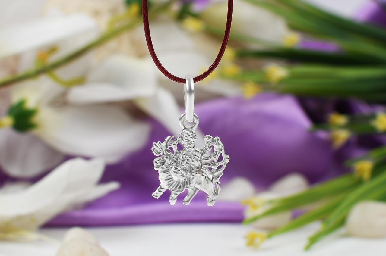 Durga Locket in pure silver - Design VI