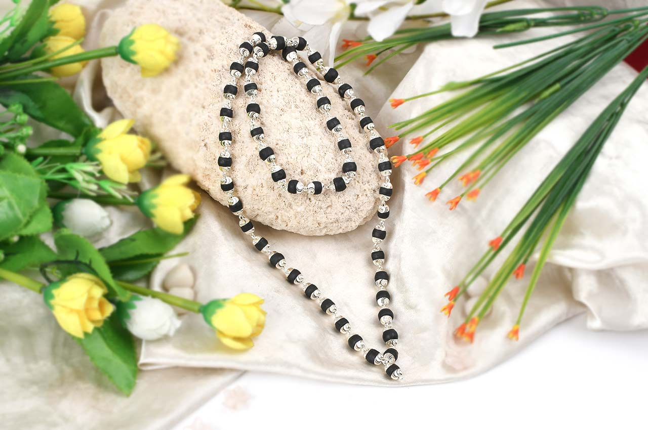 Black Tulsi beads mala in silver with self design caps - 8mm