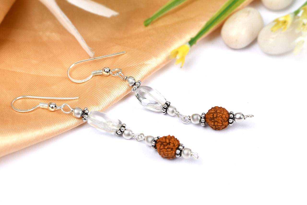 Rudraksha and Quartz Earring
