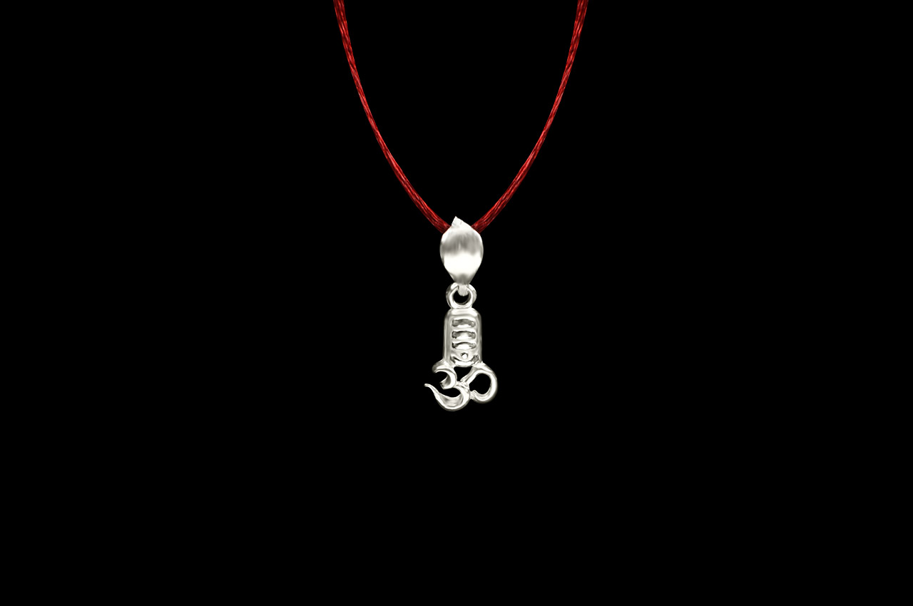 OM Shivling Locket in Pure Silver