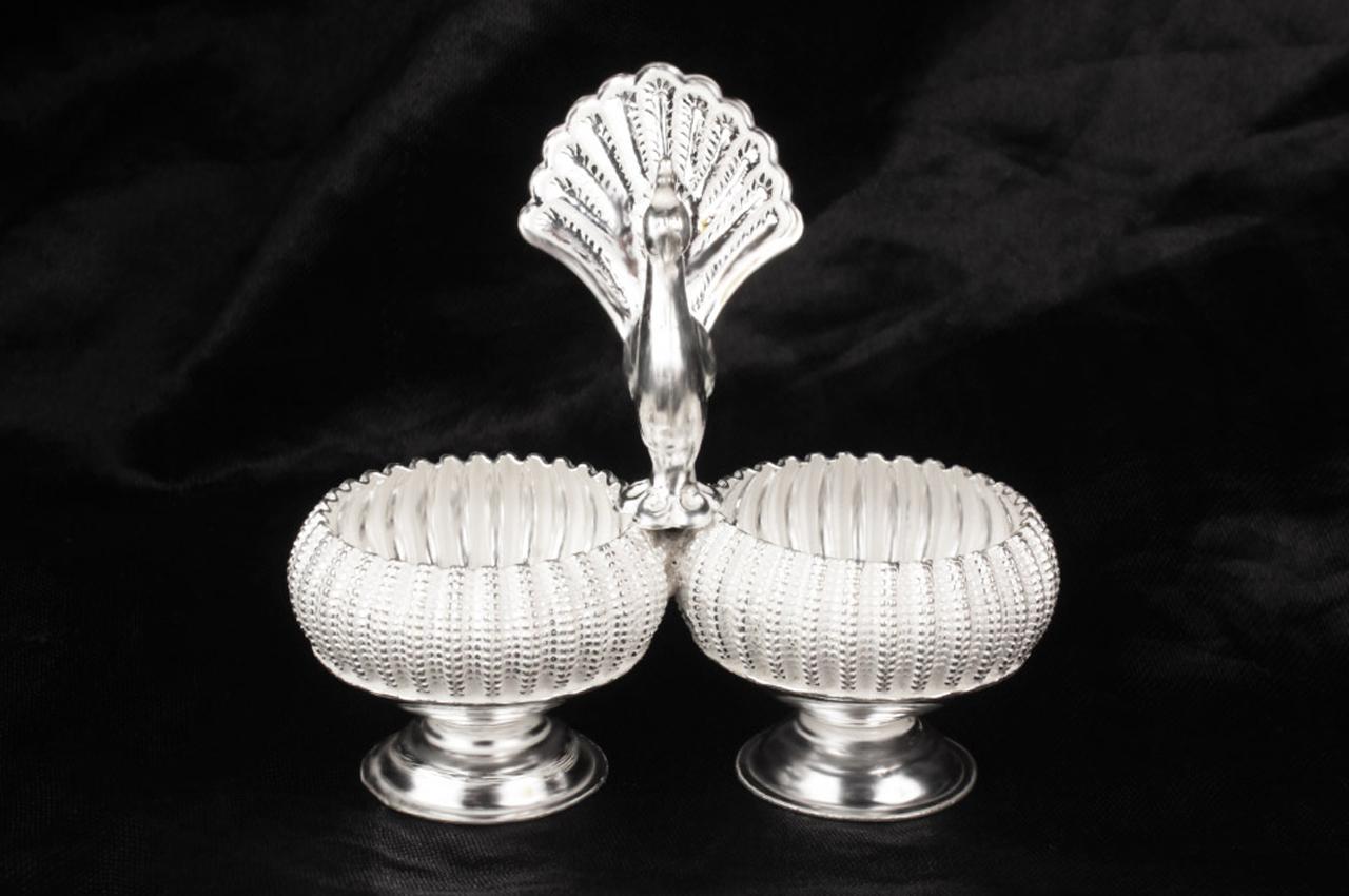 Peacock Haldi Kumkum Container in Pure Silver