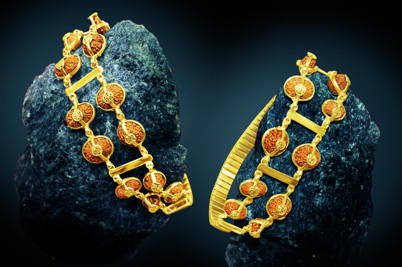 Indrakshi combination of Java beads in Gold