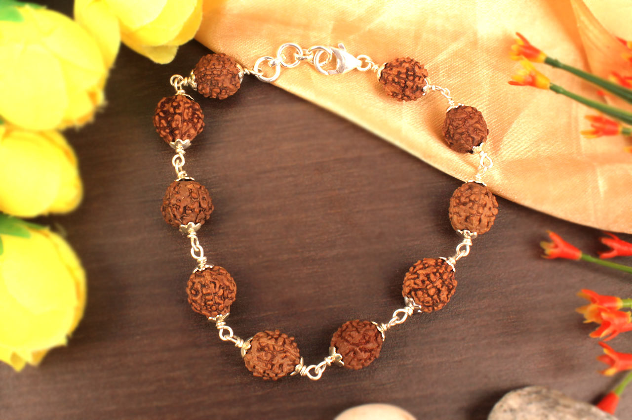 Rudraksha Bracelet in silver - 11 mm