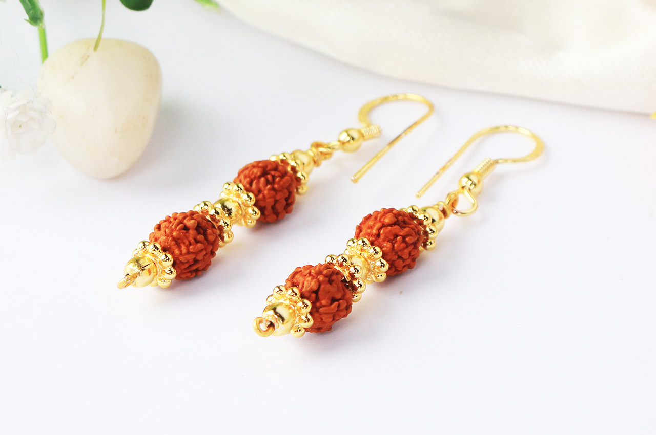 Rudraksha and Gold Earring Set with Gold Chakri and Balls - 7mm ...
