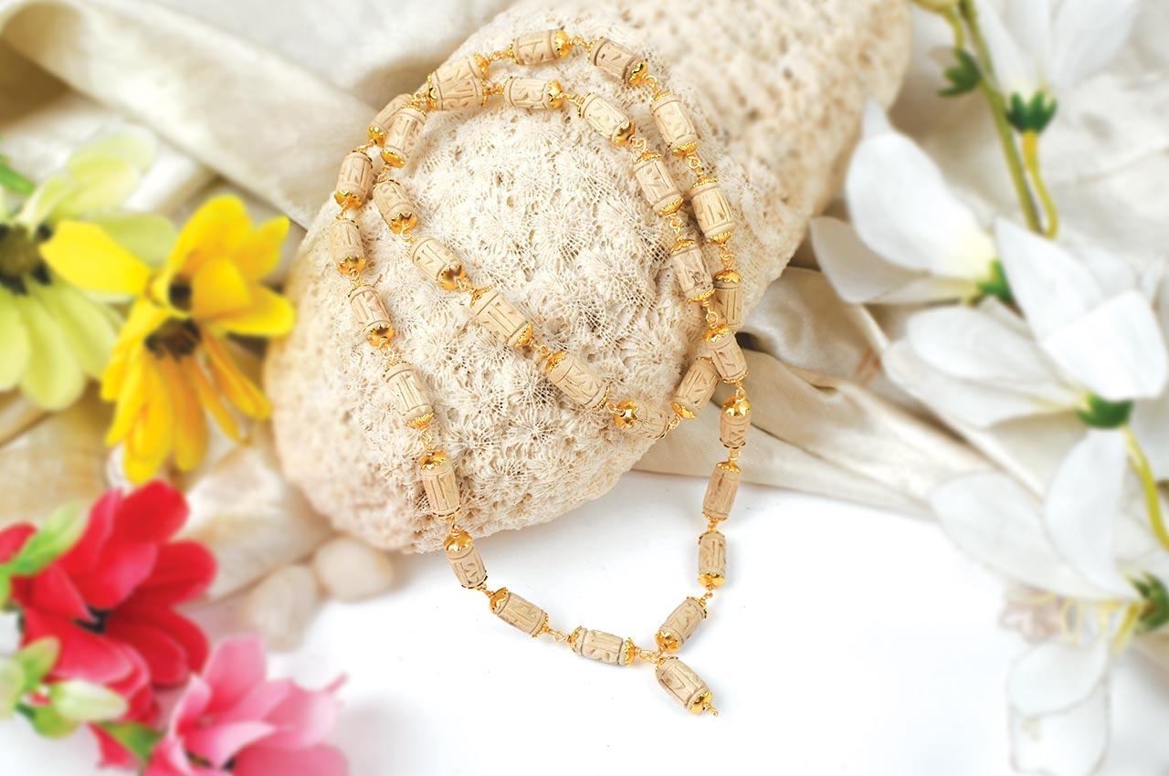 Designer Tulsi mala - 32+1 beads in copper gold polish caps