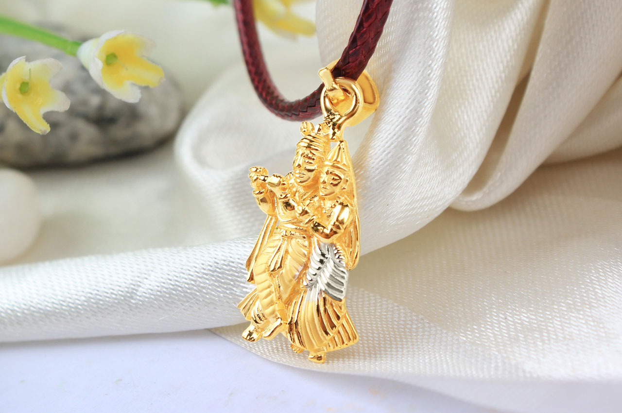 Radha Krishna Locket in pure Gold - 3 56 gms - Rudraksha Ratna