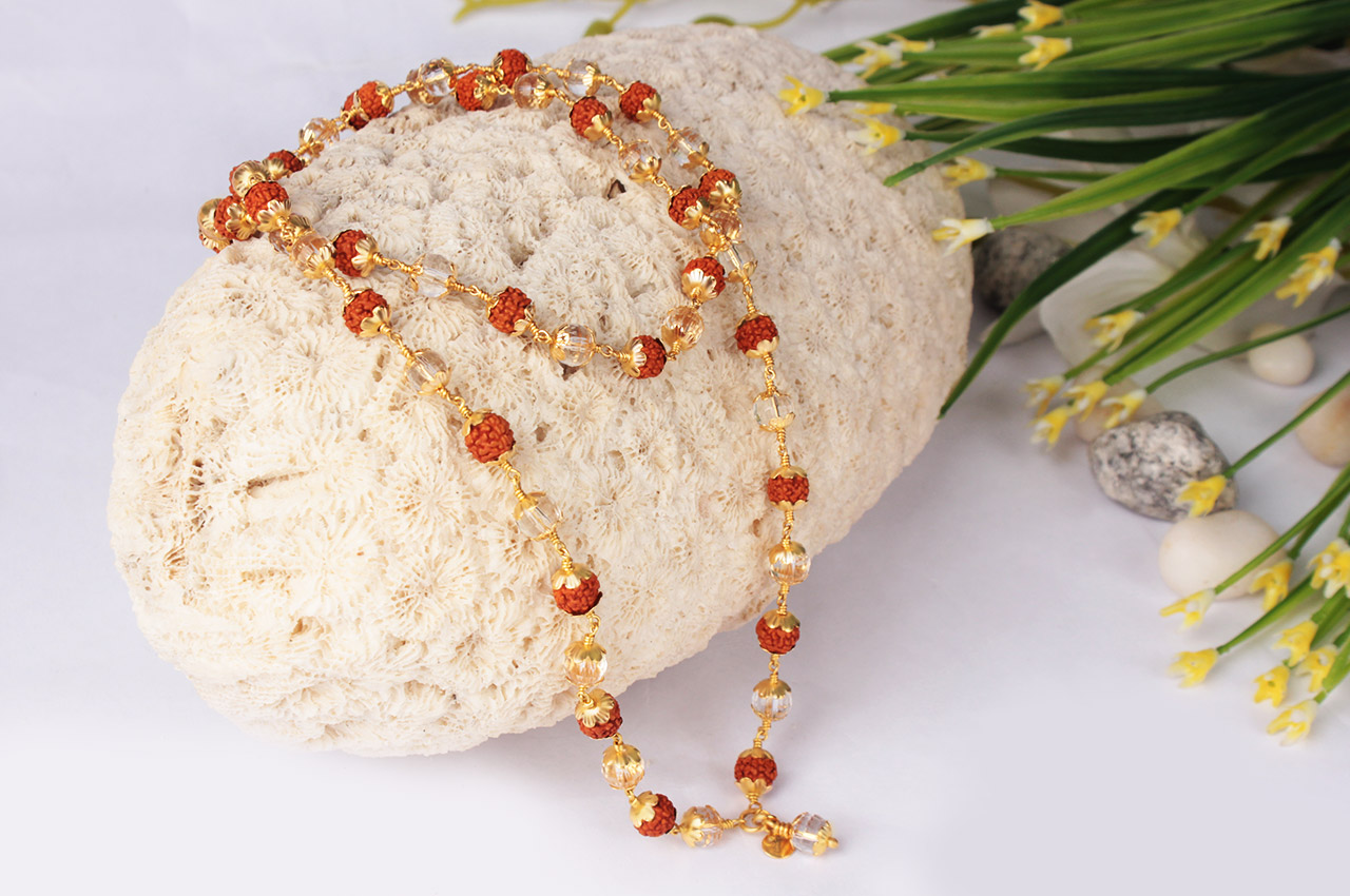6mm Rudraksha and Crystal Beads in Pure Gold