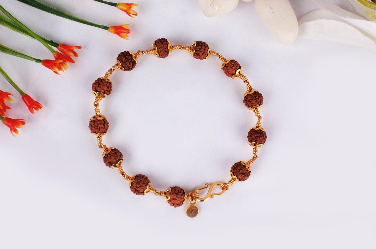Rudraksha Bracelet In Gold Design Ii