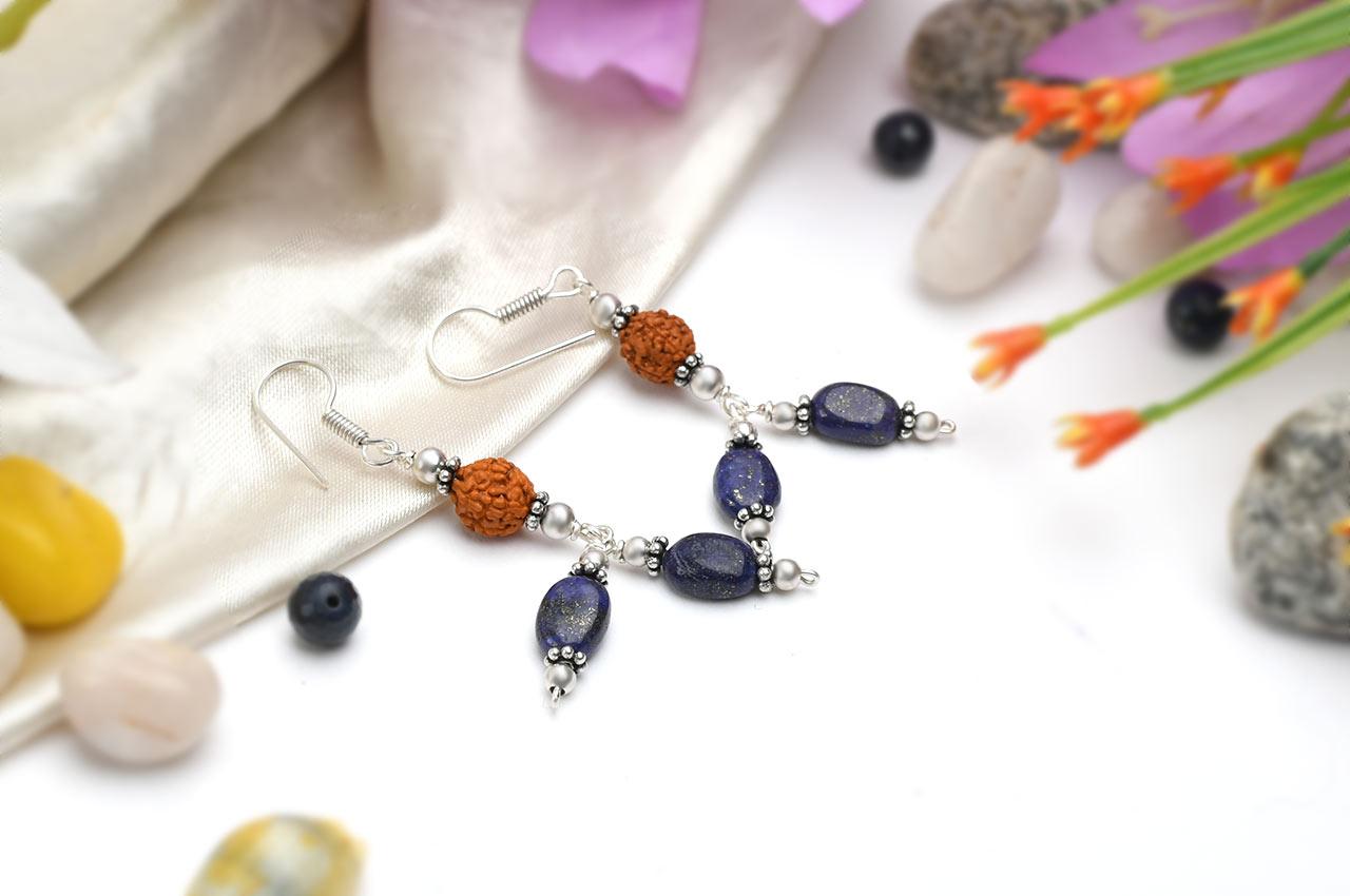 Rudraksha and Lapis Lazuli Earring - III