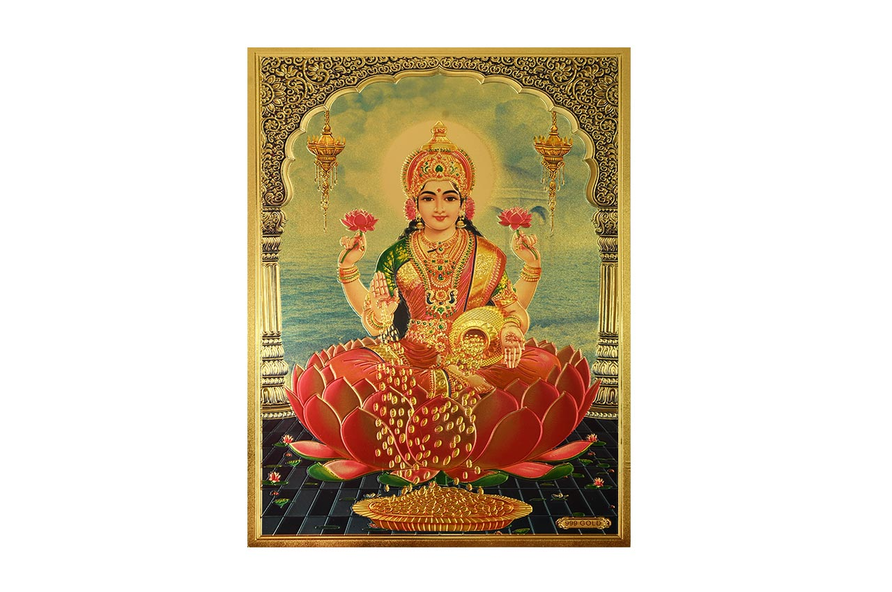 Goddess Mahalakshmi Photo in Golden Sheet - Large