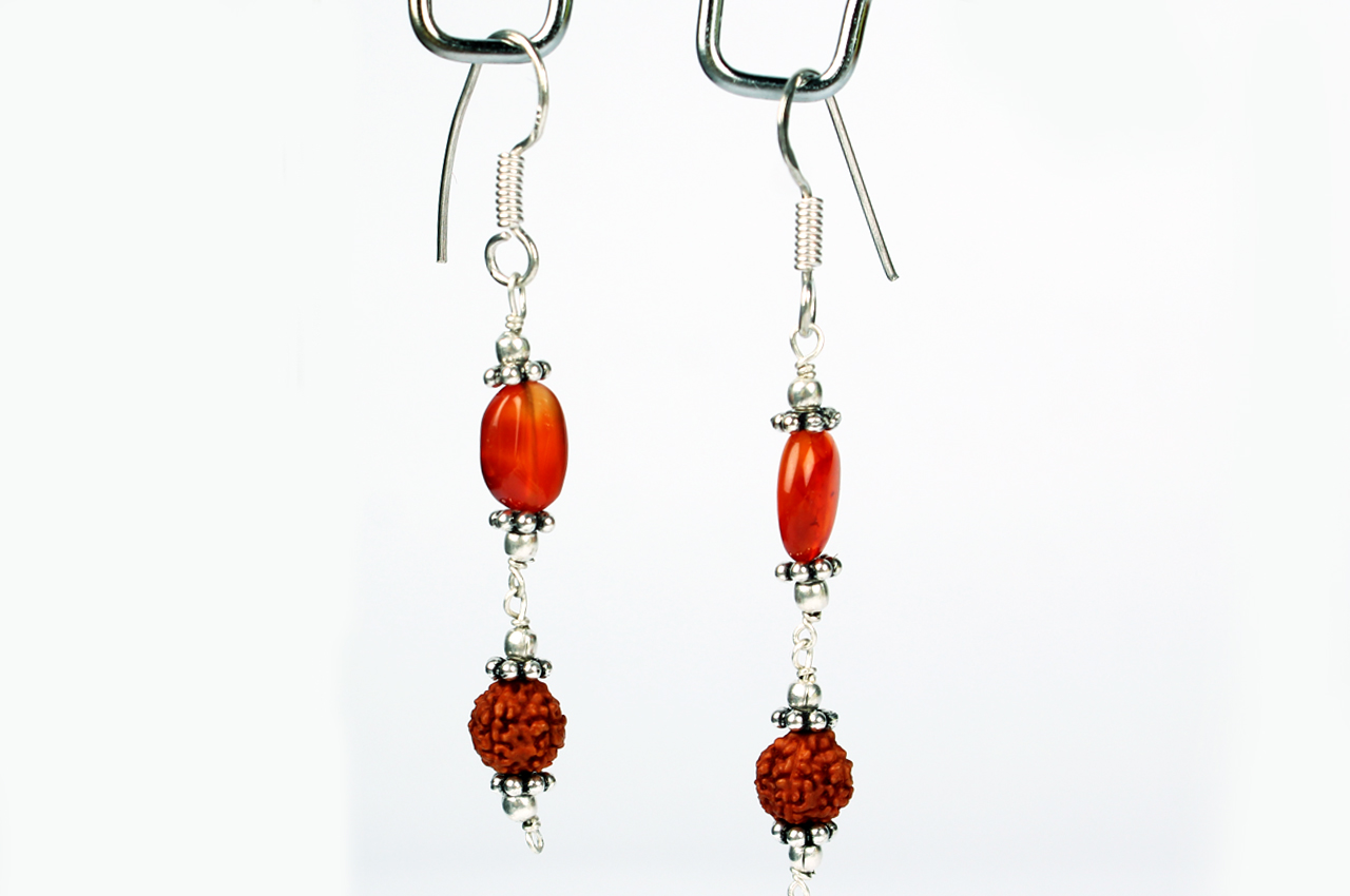 Rudraksha Carnelian Earring