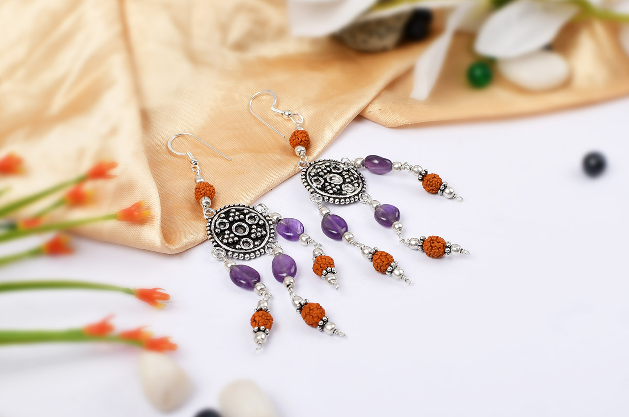 Amethyst and Rudraksha Earring - I