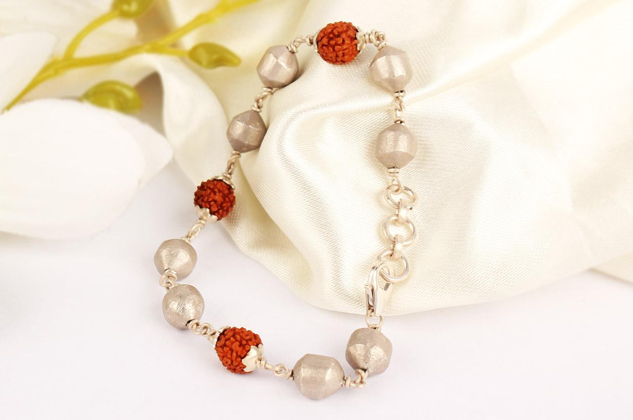 Rudraksha and Parad Bracelet in silver knot - 10 to 13mm
