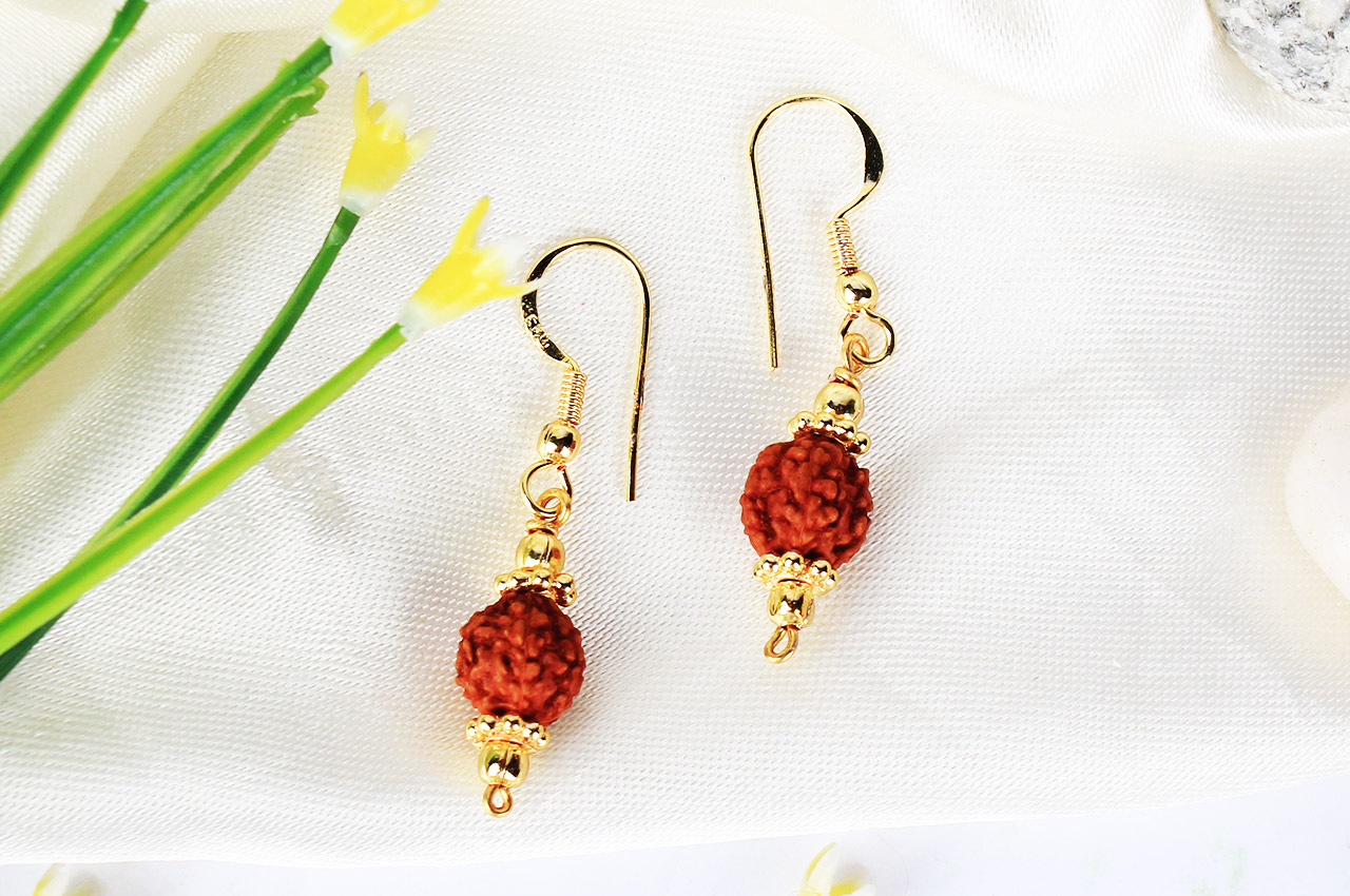 Rudraksha and Gold Earring Set with Gold Chakri and Balls - 9mm