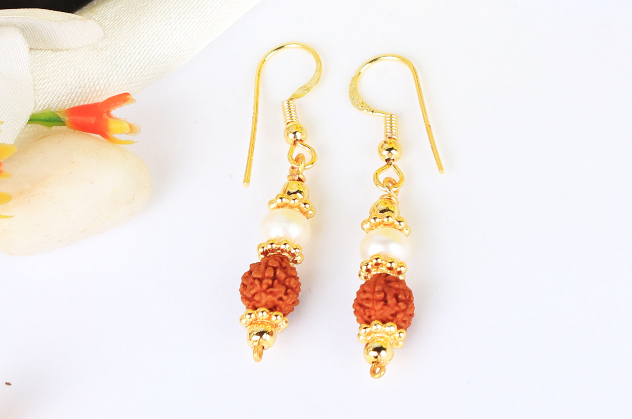 Rudraksha and Pearl in Gold Earring Set