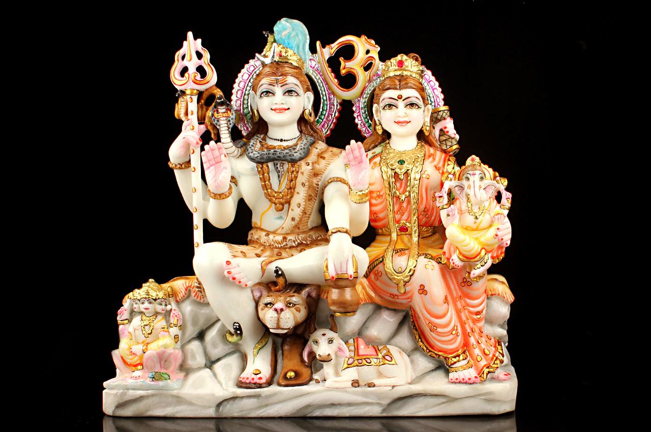 Shiv Parivar marble idol
