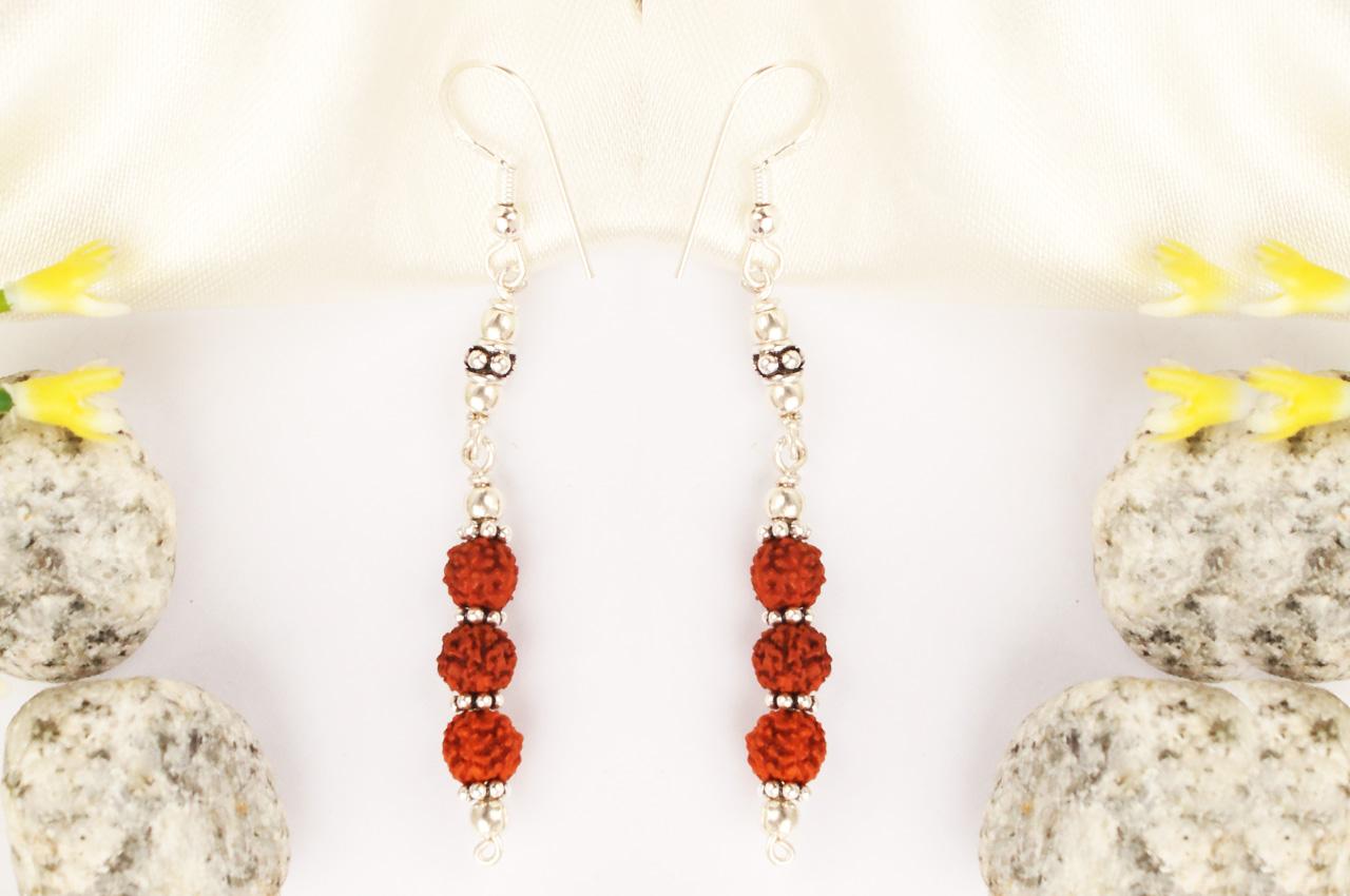 Earrings of Rudraksha Beads - Design III