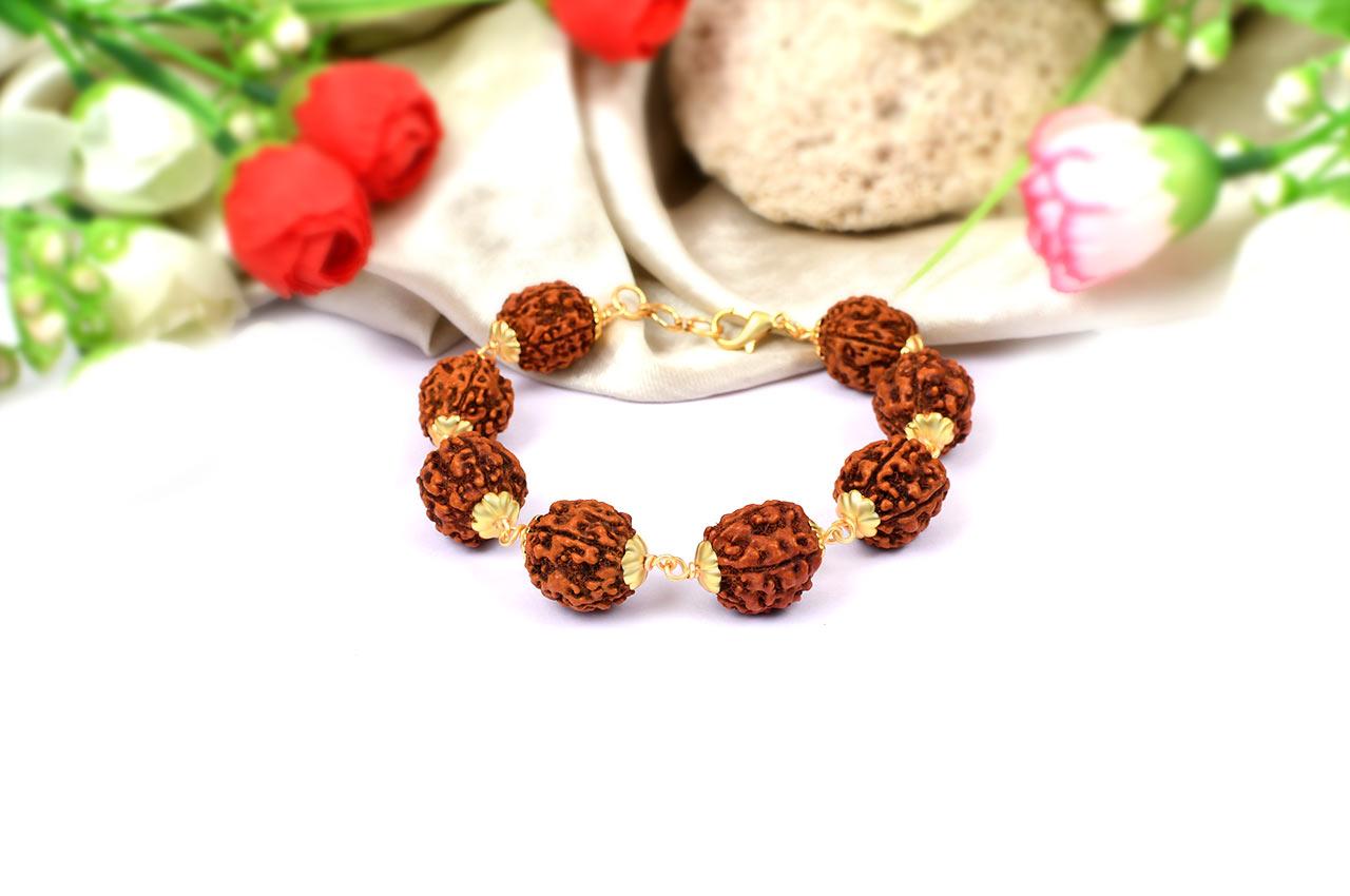 5 mukhi Guru bracelet in copper gold polish caps - 15 mm