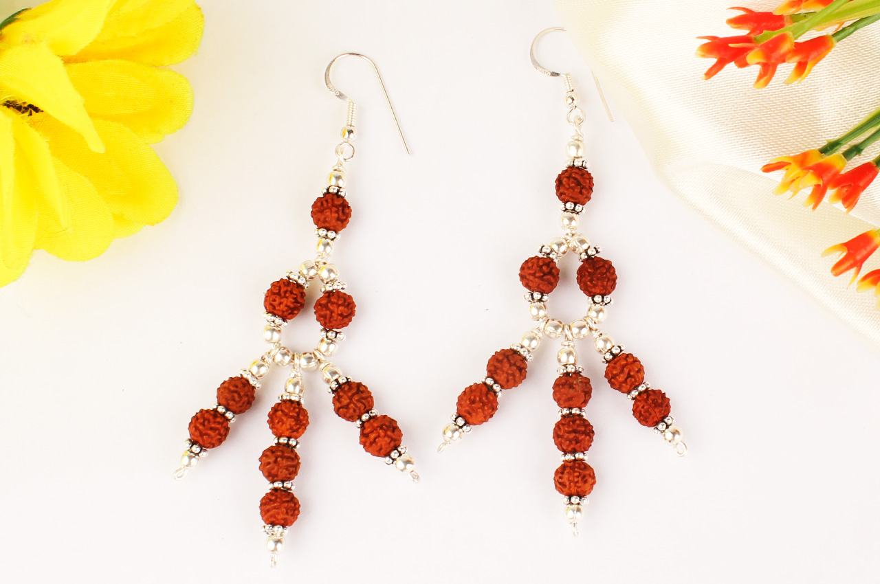 Earrings of Rudraksha Beads - Design II