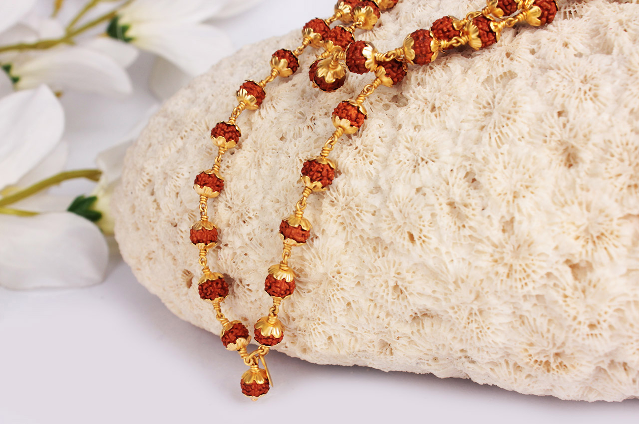 Rudraksha Mala 5mm In Gold With Flower Design Caps
