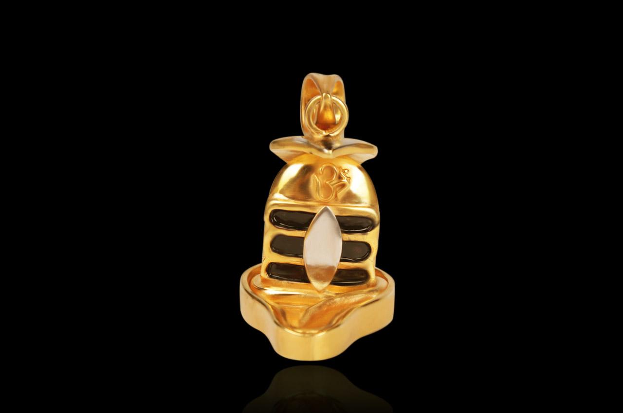 Shivling Locket in Silver Gold polish