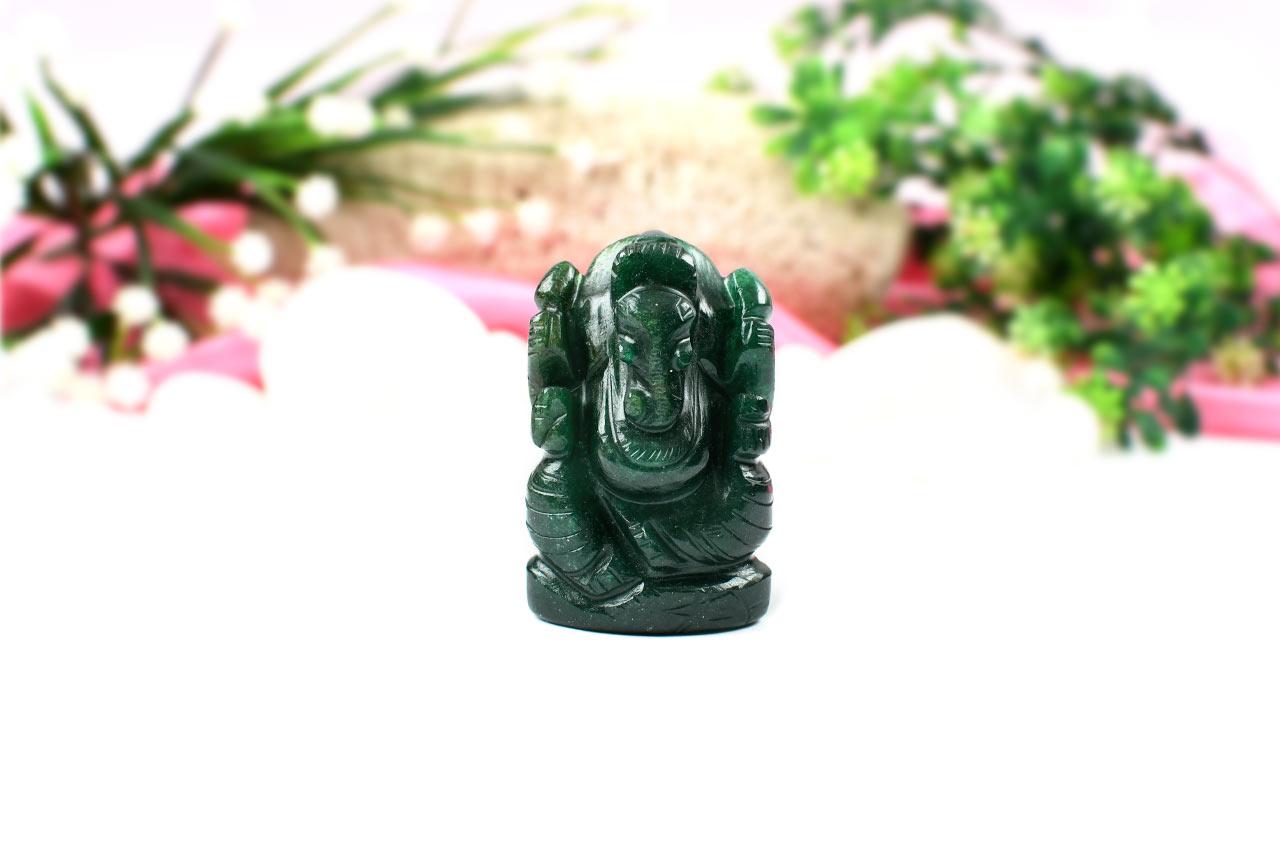Green Jade Ganesha-Right Trunk-89 gms