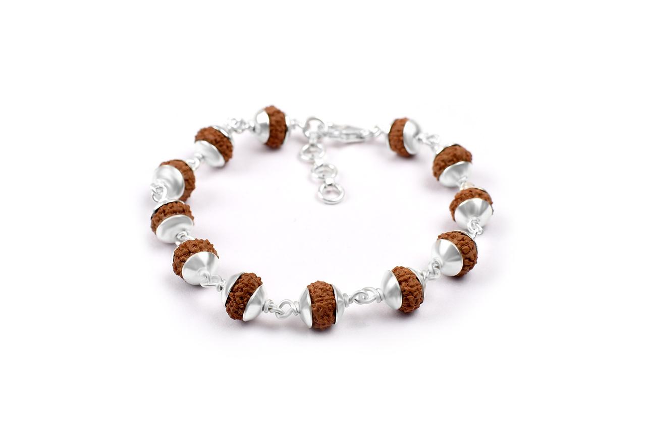 7 mukhi Mahalaxmi bracelet from Java with silver caps