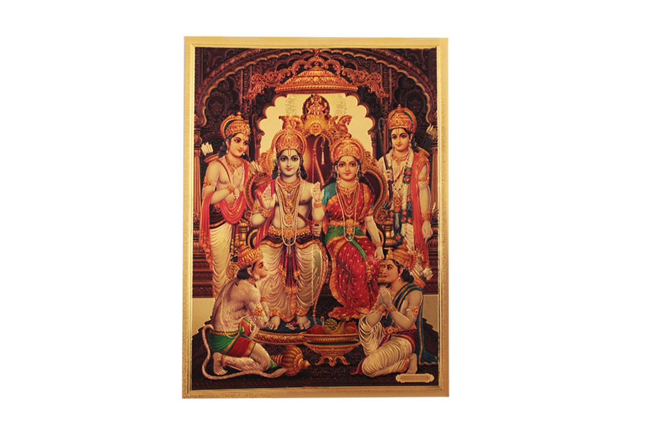 Ram Parivar Photo in Golden Sheet - Large