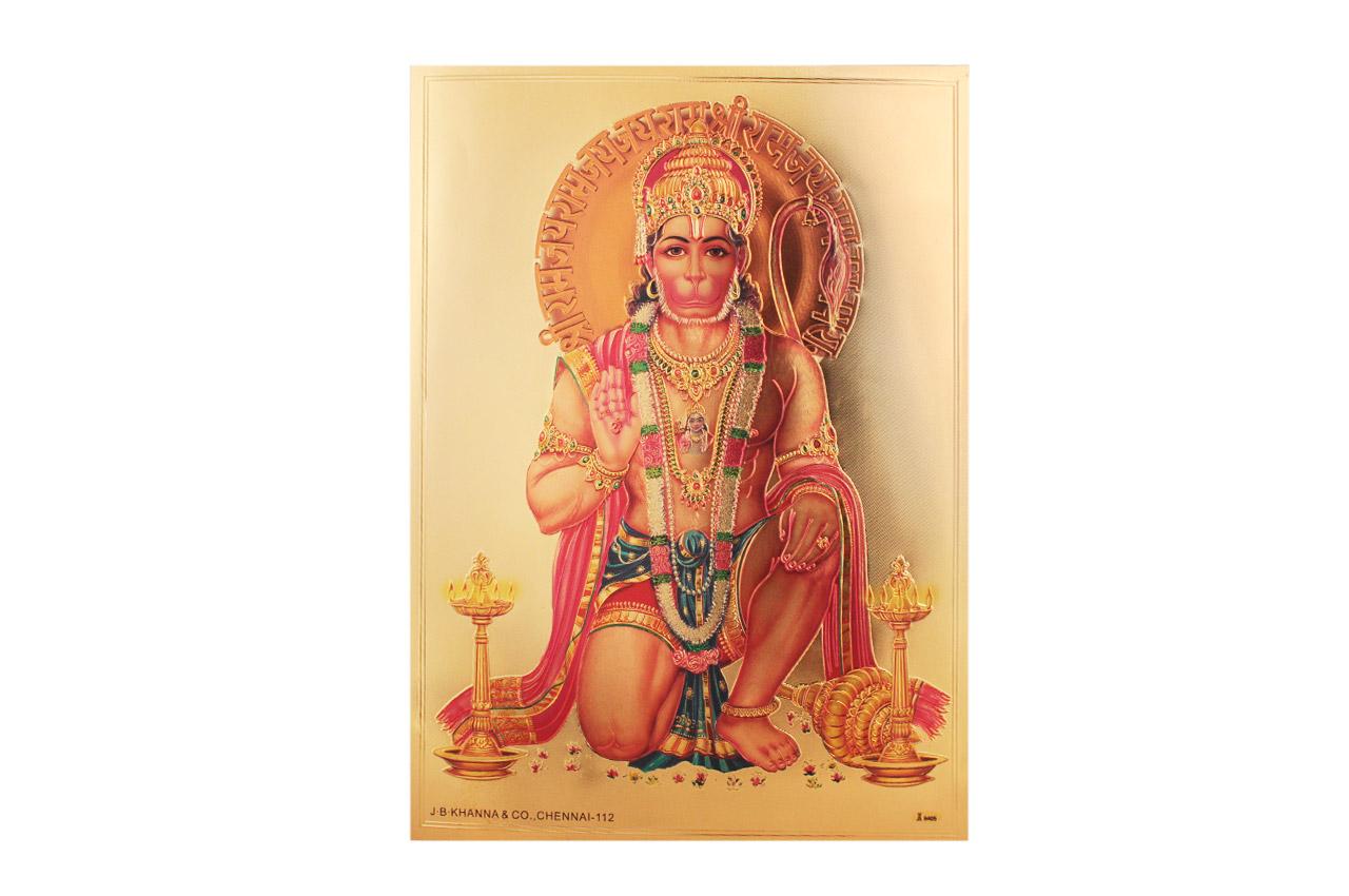 Hanuman Mudra Photo in Golden Sheet - Large