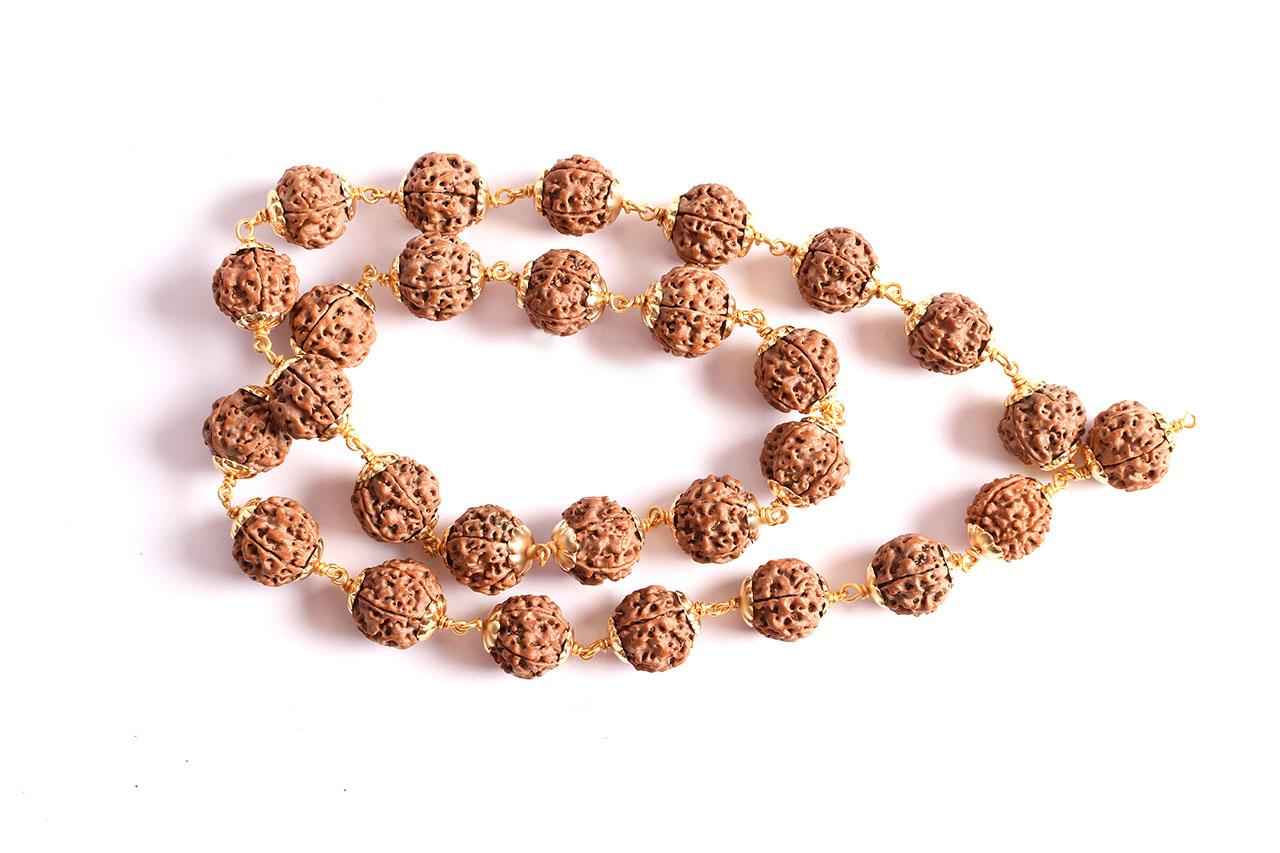 5 Mukhi Mala in copper gold polish