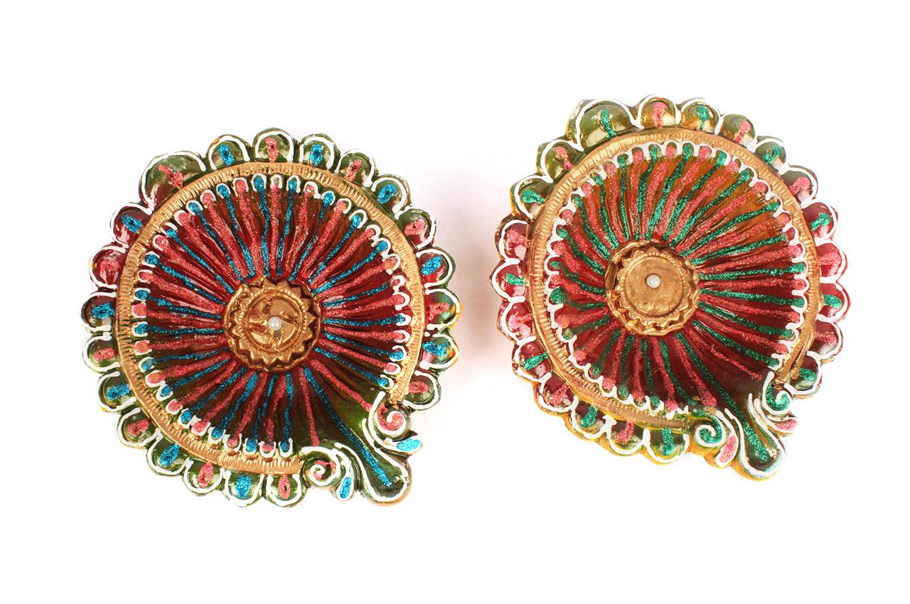 Designer Diwali Earthen Diyas - Set of 2 - Design II